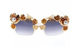 $enCountryForm.capitalKeyWord UK - Baroque Sunglasses top Fashion Luxury Retro Vintage Gold Butterfly Golden Rose Queen Fashion Female Rimless Pearl Sun Glasses