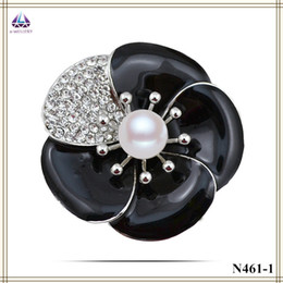 Real Flower Brooches Canada - China Suppliers Jewelry Yiwu Real Gold Plating Flower Brooch With Black Resin Stone And Pearl Hot Sale For Women