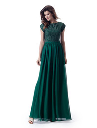 white lace cap sleeve top UK - Formal New Arrival Green Modest Bridesmaid Dresses With Lace Top Chiffon Skirt Simple Sleeved Temple LDS Wedding Party Guest Dress