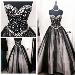 Robe De Bal Noir Sur Mesure Pas Cher-Sparkly Black Tulle Robe pas cher de haute qualité Bling Bling cristaux perlés dentelle étage Longueur corset Prom Robes Custom Made Evening Wear