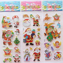 kindergarten christmas gifts Canada - 2015 hot sale Christmas 3D Cartoon Sticker Santa Claus Wall Stickers Christmas Tree Snowman gift Paster Kindergarten Reward for kids