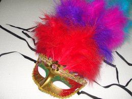 $enCountryForm.capitalKeyWord Canada - 18*25cm Long Feather masks Lace Trimming Female Party Mask with 11 root Feathers Fashion Party Masquerade Mask 10pcs lot