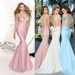 Perle Perle Tarik Ediz Pas Cher-Rose Sheer White Hot Sky Blue Ball Robes 20169 Tarik Ediz Bateau perles robes de soirée sexy robe de bal longue Party Celebrity formelle cher