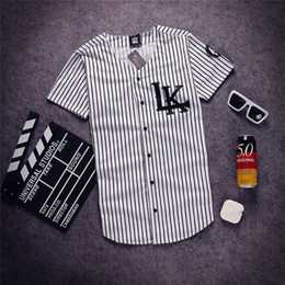 Wholesale white man hip hop swag online – oversize Fashion Men s V neck Hip Hop Tyga swag Last kings t shirt baseball Shirts Man Summer strip buttoms Tee Shirts Free