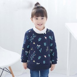 Barato Algodão Azul Lindo-Everweekend Girls Floral Print Tees Lovely Kids Azul e Bege Cor Fleece Lining Clothes Cute Baby Autumn Cotton Tops