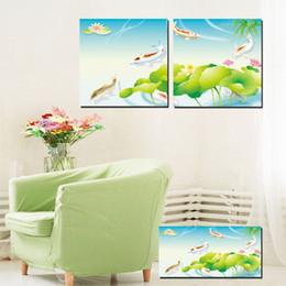 $enCountryForm.capitalKeyWord NZ - Unframed 2 Pieces Free Shipping Canvas Prints Home decoration Cartoon flower fish Abstract oil painting flower Porcelain Lotus leaf