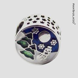 China Pandulaso Christmas Snowy Wonderland Charm Blue & Green Beads For Woman DIY Original Sterling Silver Jewelry Fit Pandora Charms Bracelets suppliers