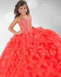 Wholesale 2015 Robe de Filles de Fleur Robe de Fille de Corail Robes Grils Robe de Bal Halter Robe en Organza Cristal Petite Robes de Fille Sparkly Custom made