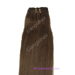 """chestnut brown hair weave 2019 - 7A 100g 1pcs 16""""-26"""" 8# Chestnut Brown Brazilian Straight Hair Extensions Indian Malaysian Peruvian Remy Human"""