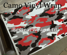 Door stickers Design online shopping - Matte Gloss Red Camouflage Sticker Wrap With Air Release Arctic Camo Film For Car Wrap Graphics Design x m m m Roll