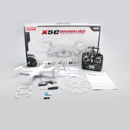 Syma Gyro Quadcopter Canada - SYMA X5C-1 RC Helicopter 2.4GHz 4CH HD FPV Camera 6 Axis Quadcopter Gyro 2GB TF Card with 2MP Camera