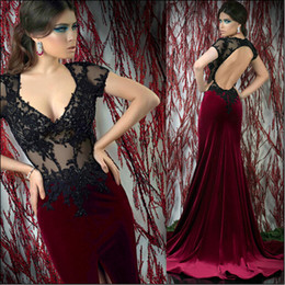 Lace Mermaid Velvet Gown Canada - Elegant Evening Gowns 2018 Sexy Mermaid Open Back Beaded Lace Appliqued Sheer Bodice Short Sleeves Black Top Burgundy Velvet Formal Dresses