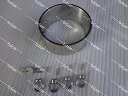 $enCountryForm.capitalKeyWord Canada - Heavy Duty Stainless Steel 5CM high Steel Locking Slave Collar Collars with 4 rings Neck Bondage BDSM