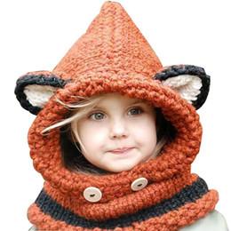 Kids Crochet Beanies Canada - new Lovely fox ear winter windproof hats scarf set for kids crochet headgear soft warm hat baby winter beanies Boys Girls Shapka Cap