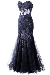 Chinese  Transparent Navy Mermaid Evening Dresses Sweetheart Crystals Beads Applique Lace Sexy Sheer Party Gowns Custom Size manufacturers