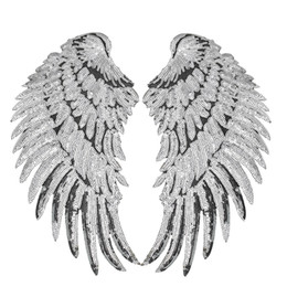 Wholesale 1 Pairs Sequined Wings Patches for Clothing Iron on Transfer Applique Patch for Jacket Jeans DIY Sew on Embroidery Sequins