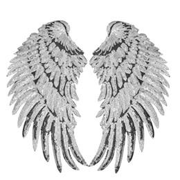 1 pares de lantejoulas asas remendos para roupas de ferro em transferência applique patch para jaqueta jeans diy costurar em lantejoulas bordados