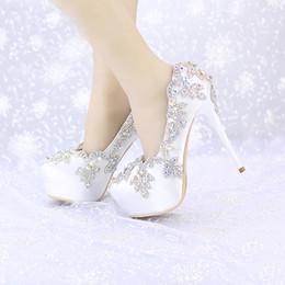 $enCountryForm.capitalKeyWord Canada - Satin Wedding High Heels AB Color Crystal Round Toe Bridal Dress Platform Shoes Banquet Pageant Party Pumps Single Shoes