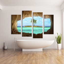 Discount ideas for painting walls - 4 Panel cave seacape living rooms set Wall painting print on canvas for home decor ideas paints on Wall pictures art No