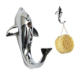 Discount dolphins decorations - Wholesale- Funny Design Silver Chrome Alloy Dolphin Hanging Hook Towel Hat Clothes Wall Bathroom Mount Hanger Home Decor