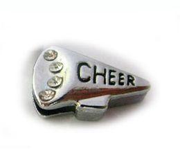 $enCountryForm.capitalKeyWord Canada - Internal Dia. 8MM DIY Alloy Rhinestones Cheer Megaphone Slide Charm Fit For Key Chains Leather Bracelet Wristband Fashion Jewelrys