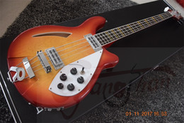Chinese  Custom Shop 1966 RICK 4005 4 Strings Cherry Sunburst Fire Glo Electric Bass Guitar Semi Hollow Body Vintage Yellow Triangle MOP Inlay manufacturers