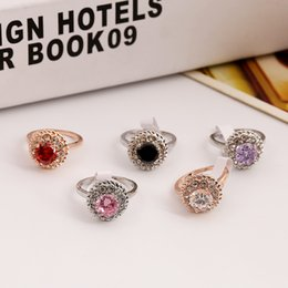 Alloy Ring Zircon Canada - High Quality Zircon Ring 18K Rose Gold Plated Rhinestone Engagement Red Rings Gemstone Jewelry Crystal Wedding Ring Charm Jewelry ZR114