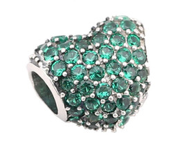 $enCountryForm.capitalKeyWord UK - 100% Sterling Silver Charms 925 Ale Green Rhinestone Heart Charms for Pandora Bracelets DIY Beads Accessories Lover Gift