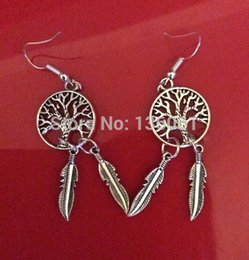 Discount feather jewelry diy - Vintage Silver Tree Of Life Dream Catcher Feather Charms Long Dangle Earrings For Woman Brand Jewelry DIY 50 Pair Fashio