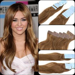 """Human Hair Extensions India Canada - #27 honey blonde 12""""-26"""" Skin Weft Hair Extension India Premium Remy Pu Tape In 20 Pcs 2.5g pc Real Natural Human Hair"""