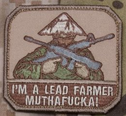 Led Labels NZ - I'm A Lead Farmer With Gun Coolest Embroidery Iron On Patch Rock Punk Sodier Handsome Label SOCIETY Badge Hats Shirts Emblem Wholesale Free