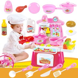 Model Kitchen Set NZ - Wholesale- Kids Play House Toys Girl Light Music Tableware Sets Baby Toys Kitchen Cooking Simulation Model Happy Kitchen Pretend Play Toys