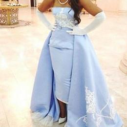 Wedding Dress Sheath Canada - Sexy Sky Blue Arabic Dress Strapless Sheath Celebrity Evening Dresses White Appliqued Custom Formal Occasion Prom Party Wedding Gowns 2015