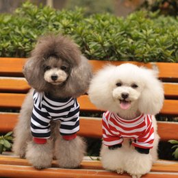$enCountryForm.capitalKeyWord NZ - Factory wholesale Dog apparel classical spring summer dog clothes horizontal stripe T-shirts teddy dog clothes red&balck colors