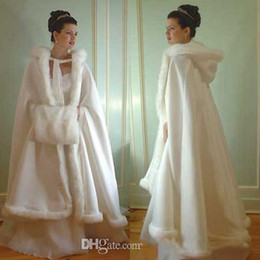 Cheap long fur Coats online shopping - Cheap Bridal Popular Cloak Jacket Long Cape Tippet Stole Shawl Coat Bolero Satin Fabric Custom Made With Faux Fur Chapel Train White