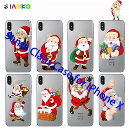 $enCountryForm.capitalKeyWord Canada - Santa Claus Phone Case for iPhone X Cover Soft TPU transparent Back Cover for iPhone8 7 6 Plus Merry Christmas Gift