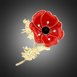 poppies painted flowers 2019 - Fashion Poppy corsage red oil painting flower Rhinestone brooch pins collar for women gold statement jewelry Christmas g