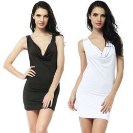 $enCountryForm.capitalKeyWord Canada - GuiXiu Apparel Sexy Mini Dress Sexy Clubwear Hot Sale Dresses Nightwear DJ Uniforms Cowl Neck Dresses White Black