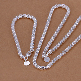 top china wholesale fashion jewelry Australia - S058 fashion Men's Jewelry Set 925 Sterling silver plated necklace (20inches) & Bracelets (8inches) Top quality low price free shipping