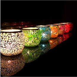 Barato O Casamento Favorece As Velas Novas-Wedding Party Mosaic Candle Holder Favors Colorful Christmas Candle Holder Ornamentos românticos Brand New Birthday / Wedding Gifts