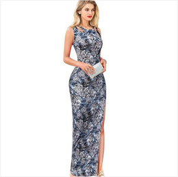 Discount sexy s out dress Women Summer Style Animal Print Tiger Head Cut Out Split Clubwear Club Party Evening Bodycon Maxi Long Dress