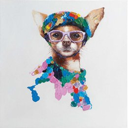 $enCountryForm.capitalKeyWord UK - Cute Animal Painting Colorful Dog with Glasses 100% Hand-painted Oil Painting on Canvas Mural Art Picture for Living Room Bedroom Wall Decor