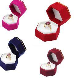 Brown ring Box online shopping - Hexagonal Finger Ring Box Jewelry Display Holder Velvet Ring Storage Box Case for Ring Earings More Color