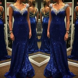 Barato Vestidos Simples Para Mães-Simples Royal Blue Mermaid Sequined Evening Dress 2018 V Neck Crystal Beading Mulheres Mãe de Noiva Dresses Plus Size Prom Party Vestido formal