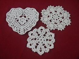 cotton table mats designs NZ - 3 Design handmade Crocheted Doilies White lace cup mat vase Pad, Round coaster Home & Garden 10-16 cm table mat 30PCS LOT tmh372