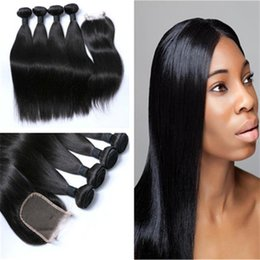 hair color factory 2019 - 8A Raw Indian Straight Natural Black Color 4 Bundles with Top Swiss Lace Closure Low Factory Price discount hair color f