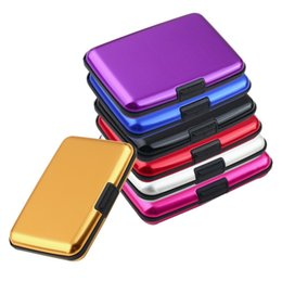 gold credit card holder Canada - Free Shipping Aluminum Holder Pocket Case Business ID Credit Card Wallet Waterproof BoxYKS