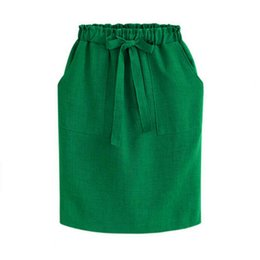 Barato Saias De Linho Para Atacado-Wholesale- 2017 New Spring Summer Midi Saias Womens Cotton Linen Casual Pacote de cintura alta Hip Skirt Bow Loose Pencil Skirt Black Green