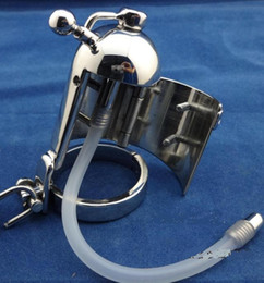 long bdsm catheter NZ - 2018 Latest Design Male stainless steel Squeeze version Cock Penis Cage Ring Chastity Belt Device with long Silicone Catheter BDSM Sex toy