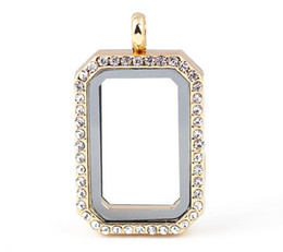 Chinese  Luxury Jewelry 33*23*8mm Square Photo Frame Magnetic Glass Memory Floating Charms Living Locket Fine Stainless Steel Jewelry Different Color manufacturers